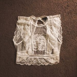 Sheer Vintage High Neck Lace Cropped Top